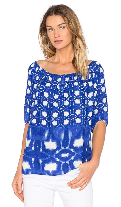 Velvet by Graham & Spencer Rista Atlantis Print Top in Blue