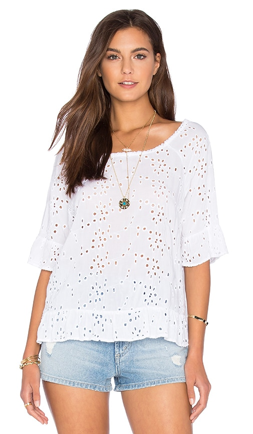 Velvet by Graham & Spencer Ricky Rayon Eyelet Short Sleeve Top in White