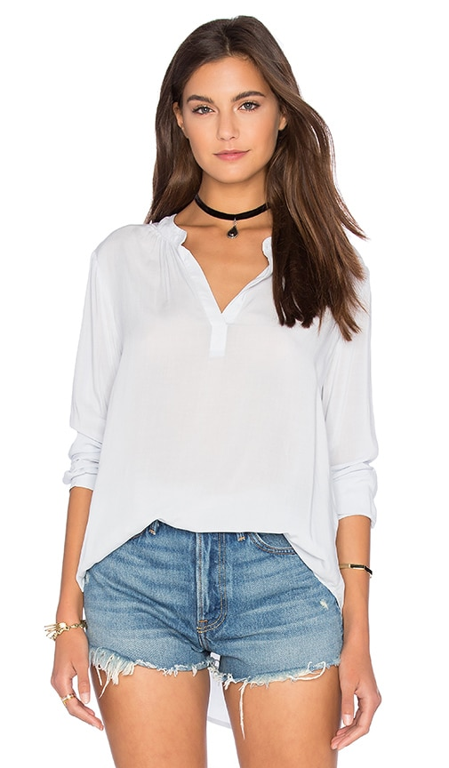 Velvet by Graham & Spencer Rosie Rayon Challis V Neck Top in Danube