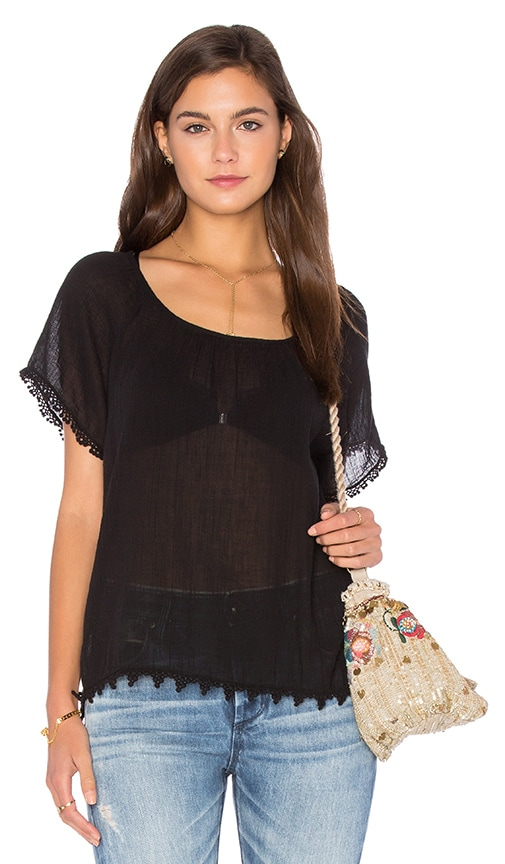 Velvet by Graham & Spencer Buttercup Cotton Gauze Top in Black