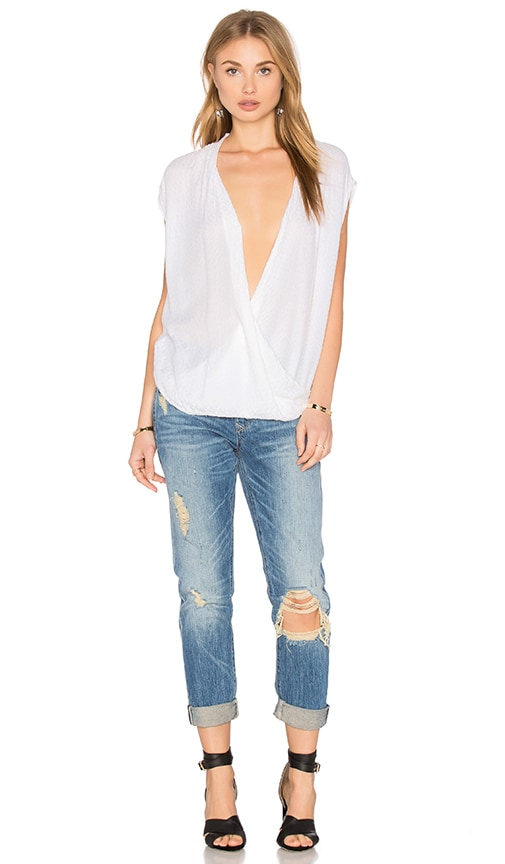 Velvet by Graham & Spencer Acasia Sleeveless Overlap Blouse in White