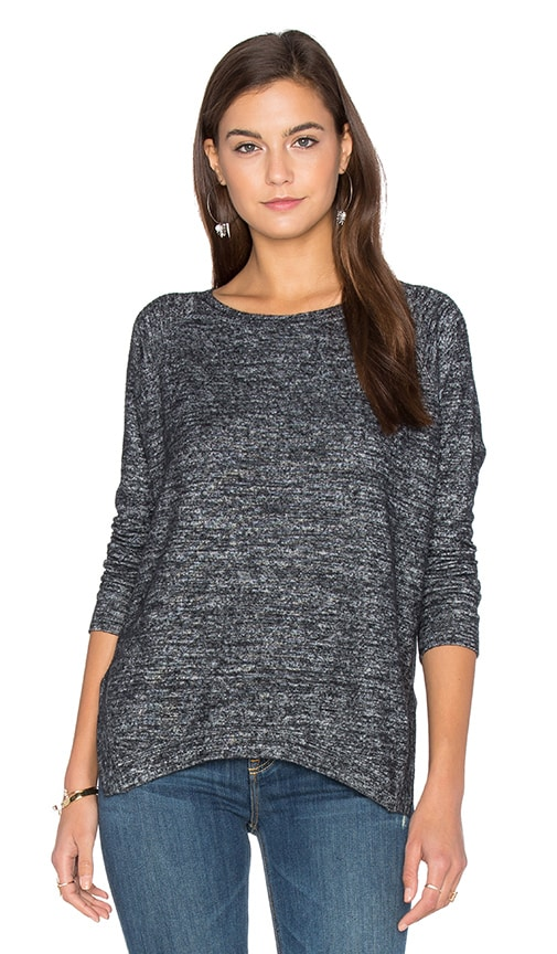 Velvet by Graham & Spencer Cade Long Sleeve Crew Neck Top in Charcoal