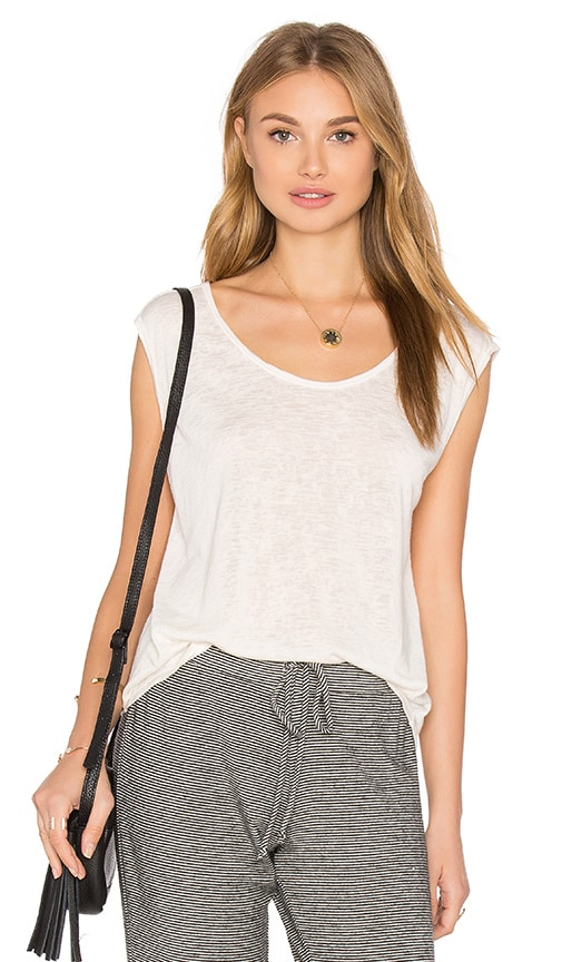 Velvet by Graham & Spencer Geralyn Sleeveless Scoop Neck Tank in Ivory