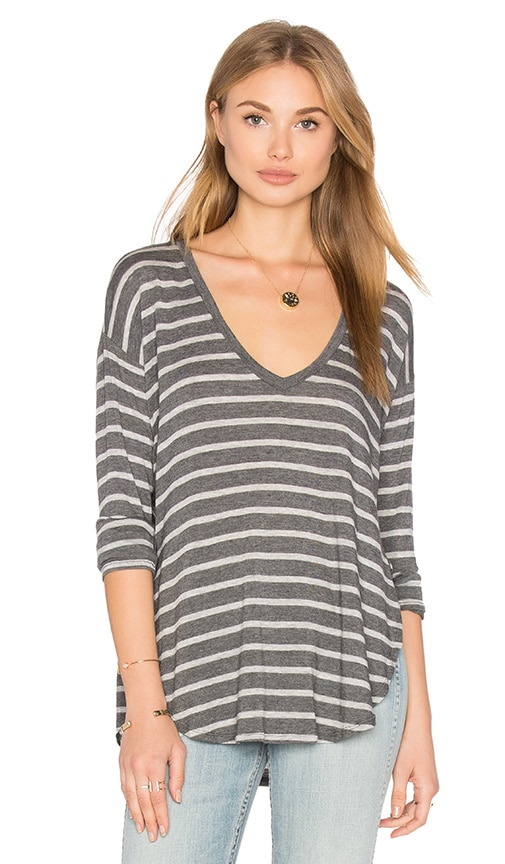 Velvet by Graham & Spencer Ulani Long Sleeve Top in Charcoal