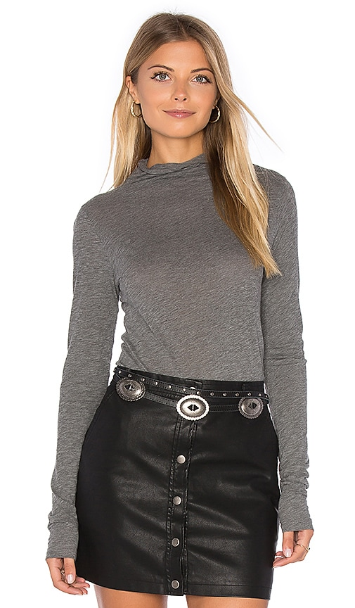 Velvet by Graham & Spencer Talisia Long Sleeve Turtleneck Top in Gray