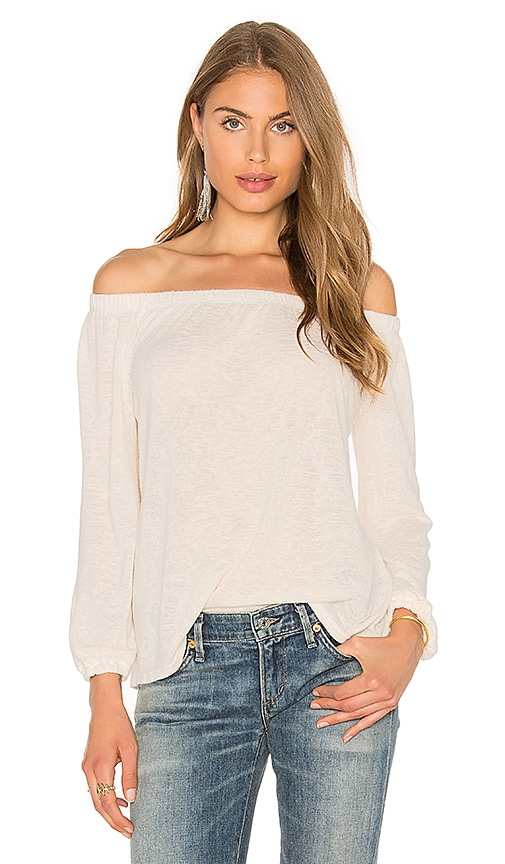 Velvet by Graham & Spencer Zinnia Off The Shoulder Long Sleeve Top in White