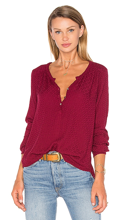 Velvet by Graham & Spencer Cecilia Long Sleeve Half Button Blouse in Red