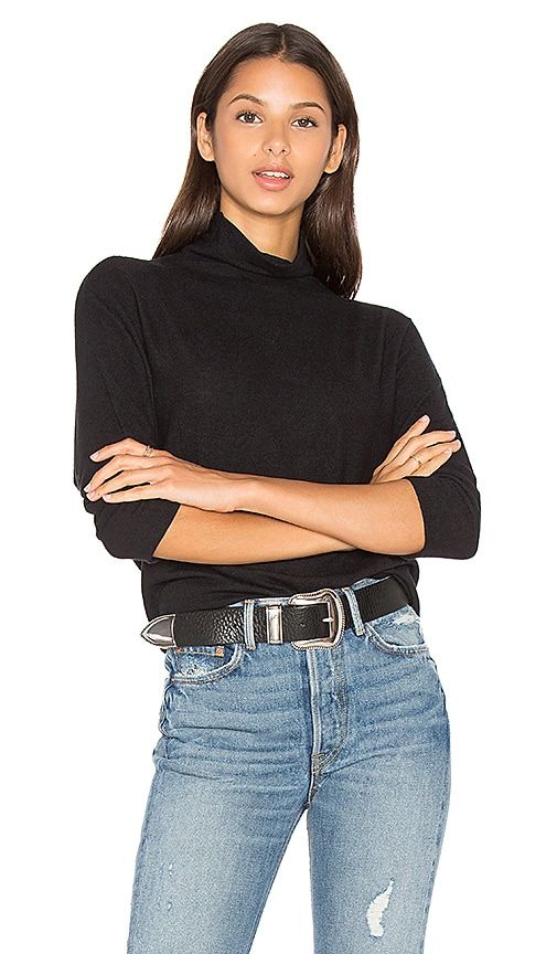 Velvet by Graham & Spencer Eada Long Sleeve Turtleneck Top in Black
