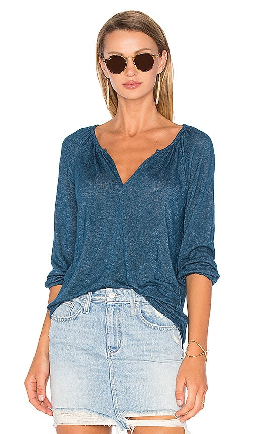 Velvet by Graham & Spencer Hugh 3/4 Sleeve V Neck Top in Blue