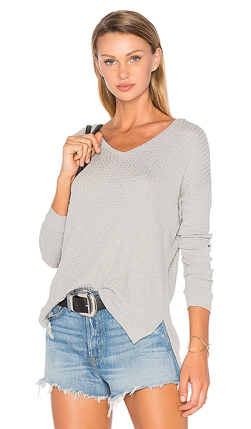 Velvet by Graham & Spencer Zaidee Long Sleeve Top in Light Gray