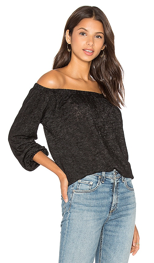 Velvet by Graham & Spencer Zinnia Off The Shoulder Long Sleeve Blouse in Black