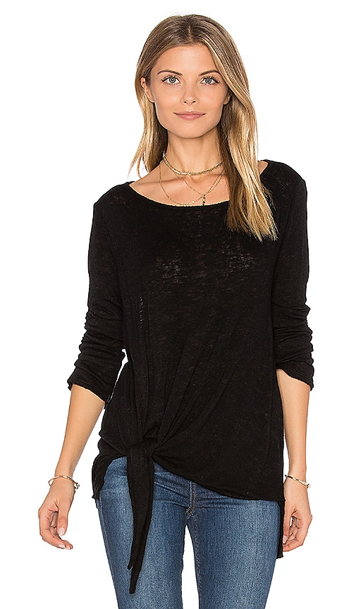 Velvet by Graham & Spencer Gwyneth Tie Front Tee in Black