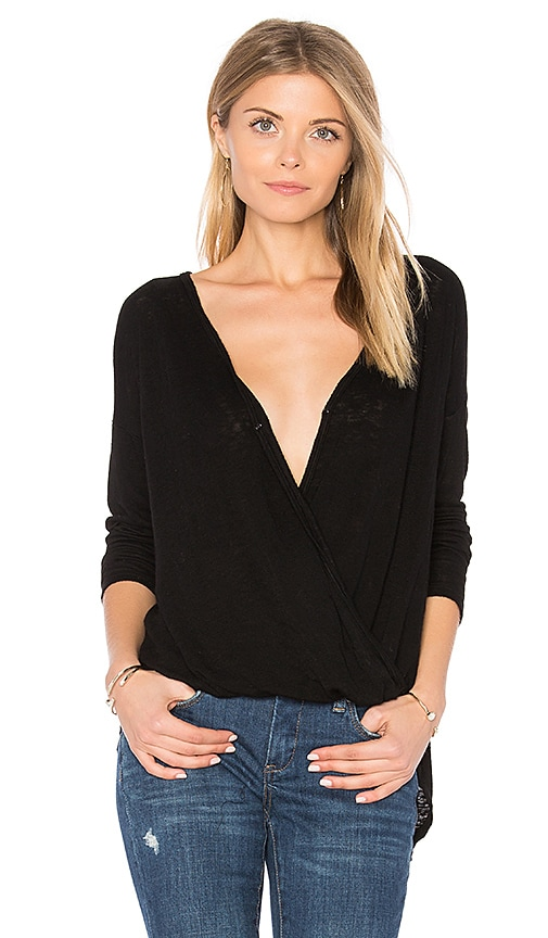 Velvet by Graham & Spencer Chantal Cross Front Top in Black