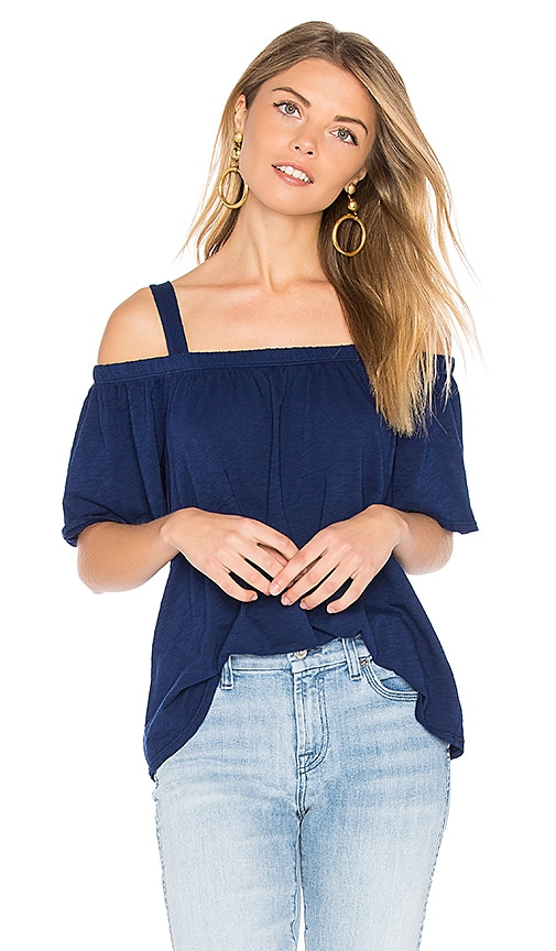 Velvet by Graham & Spencer Augusta Cold Shoulder Top in Blue