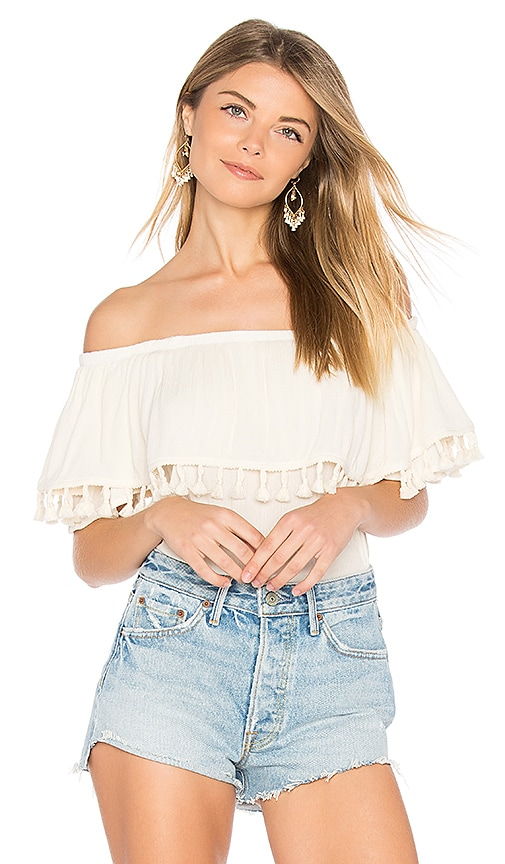 Velvet by Graham & Spencer Dominga Off the Shoulder Top in Beige