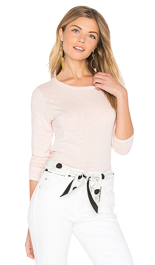 Velvet by Graham & Spencer Oraline Slub Long Sleeve Tee in Pink