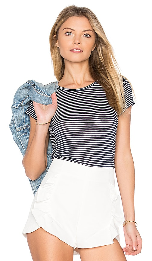 Velvet by Graham & Spencer Therese Mini Stripe Tee in Blue