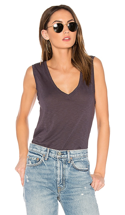 Velvet by Graham & Spencer Daytona Lux Slub V-Neck Tank in Navy