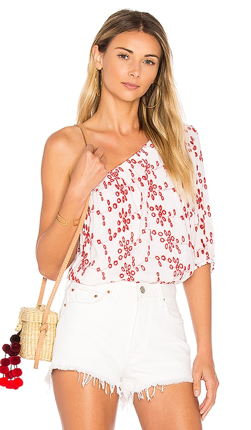 Velvet by Graham & Spencer Maya Eyelet Top in Red