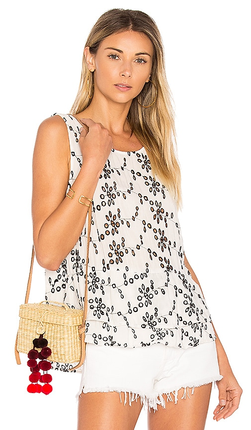 Velvet by Graham & Spencer Patricia Eyelet Tank in Black