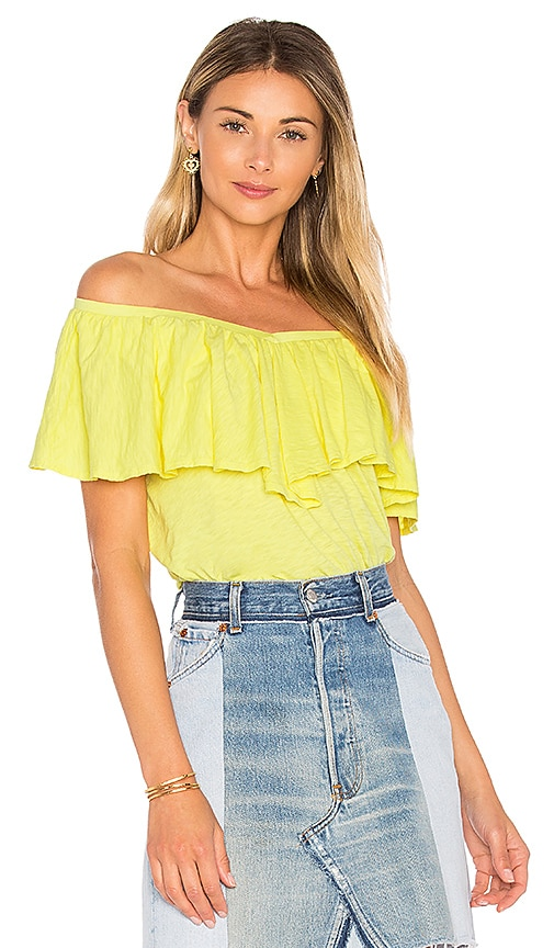 Velvet by Graham & Spencer Zayla Ruffle Top in Yellow