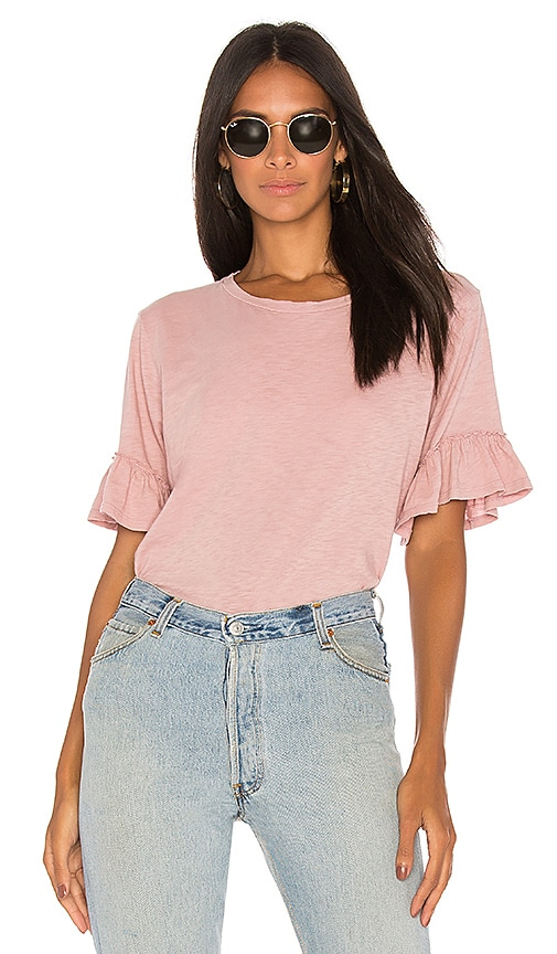 Velvet by Graham & Spencer Rielle Ruffle Tee in Pink