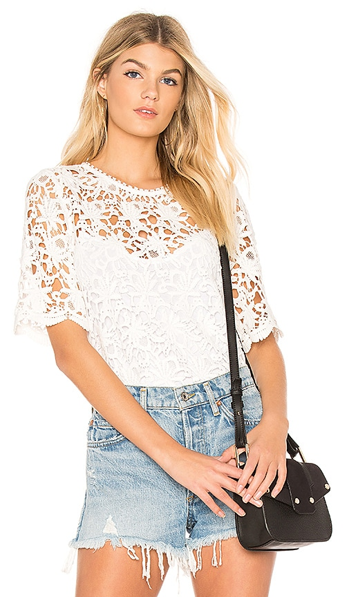 Velvet by Graham & Spencer Kaylee Floral Lace Top in White