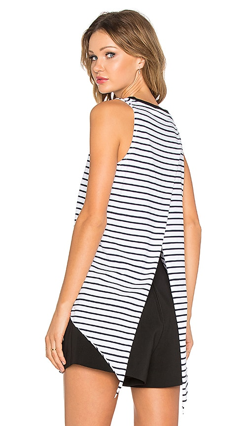 Viktoria + Woods Urchin V Open Back Tank in Black & White Stripe