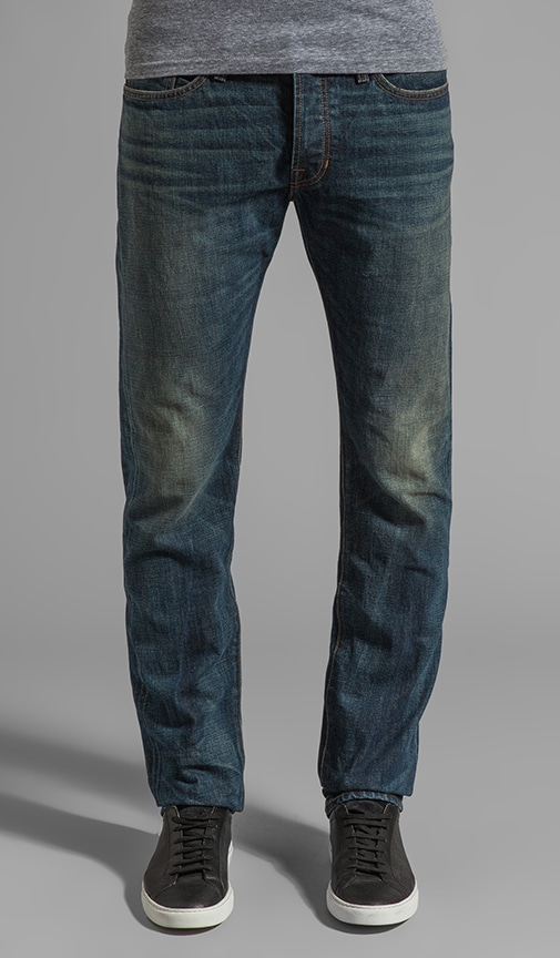 Straight Leg Washed Selvedge Denim