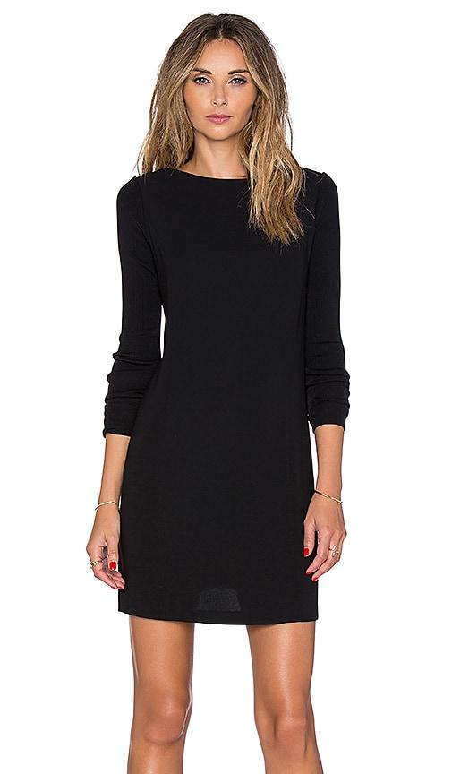 Vince Long Sleeve Laser Cut Dress in Black