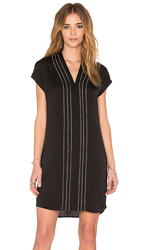 Vince Long Sleeve Embroidered Vee Dress in Black