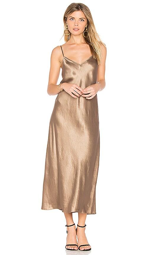 Vince Slip Mini Dress in Metallic Gold