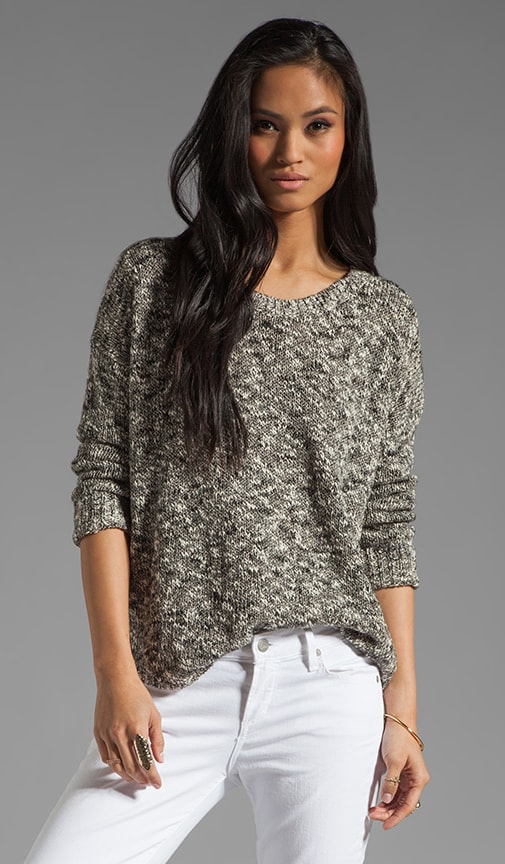 Thick and Thin Tweed L/S Shirt Tail Sweater