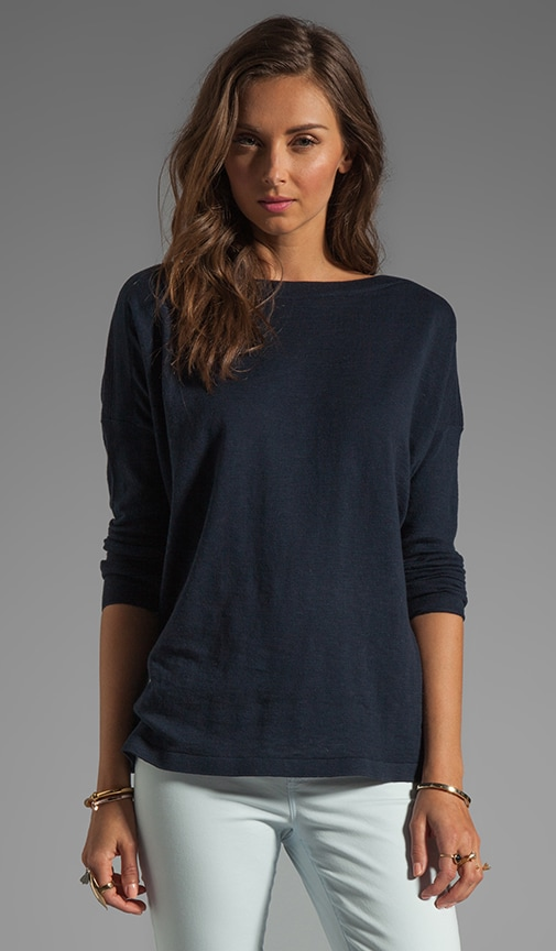 Ribbed Shoulder Slub Sweater