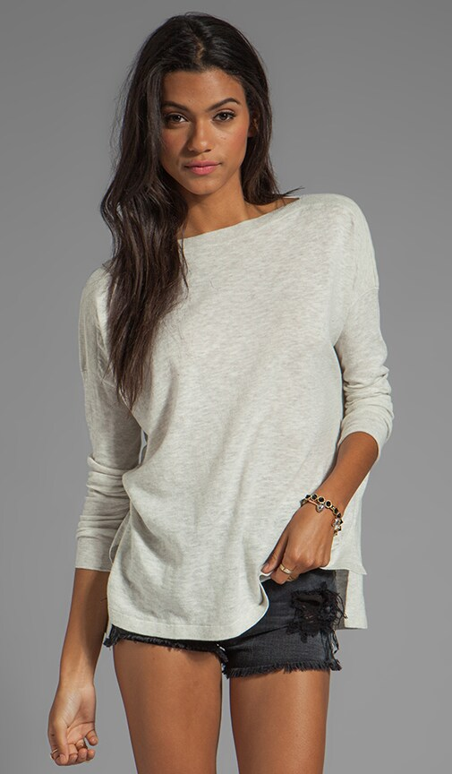 Ribbed Shoulder Slub Sweater