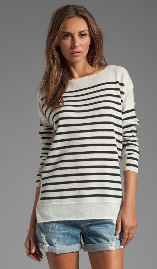 Cashmere Linked Striped Boatneck