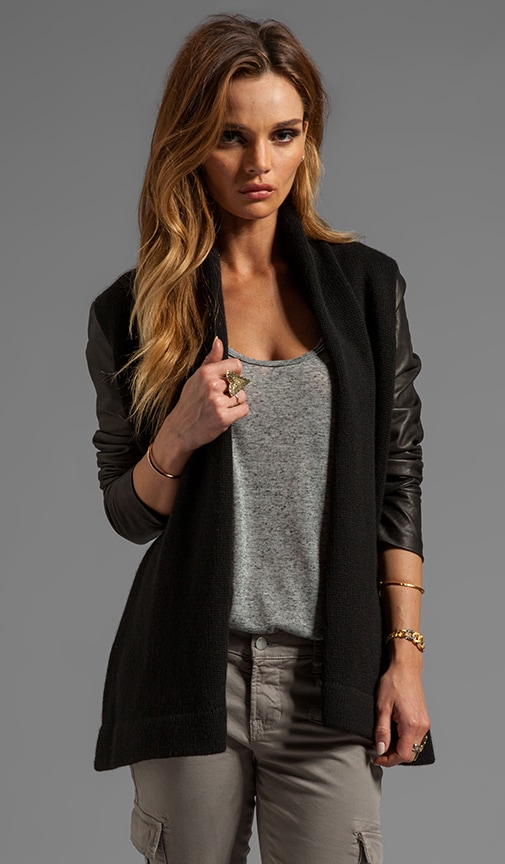 Leather Sleeve Drape Jacket