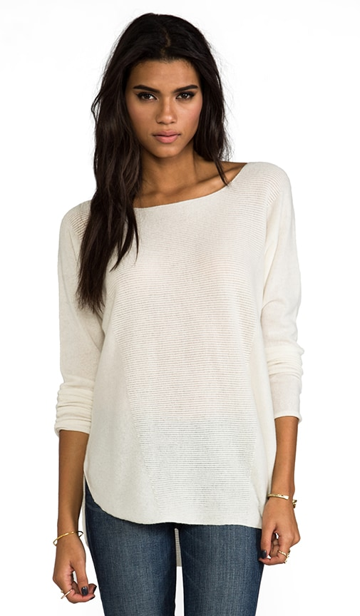 Cashmere Rack Stitch Shirt Tail Sweater