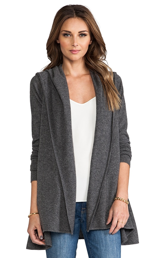 Cashmere Lux Hooded Drape Cardigan