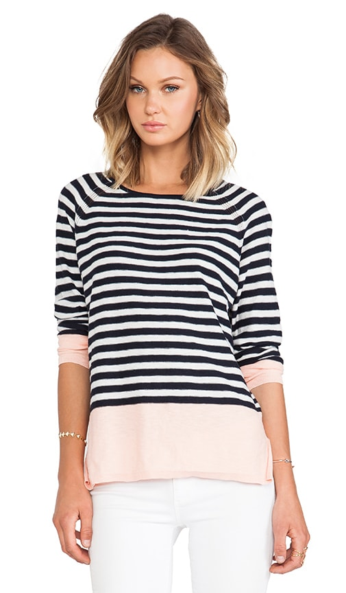 Colorblocked Striped Raglan Sweater
