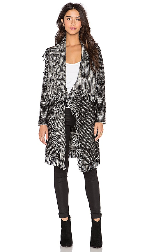 Vince Frayed Edge Drape Front Cardigan in Black & White Combo