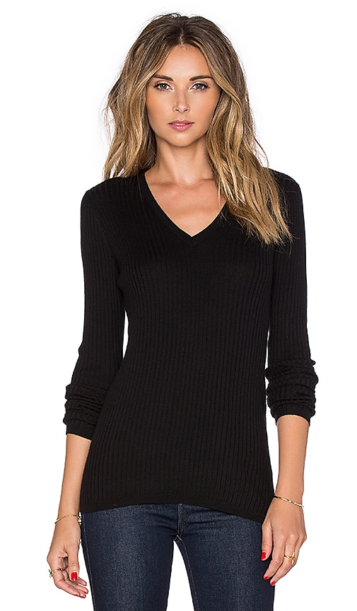 Vince Skinny Rib V Neck Sweater in Black