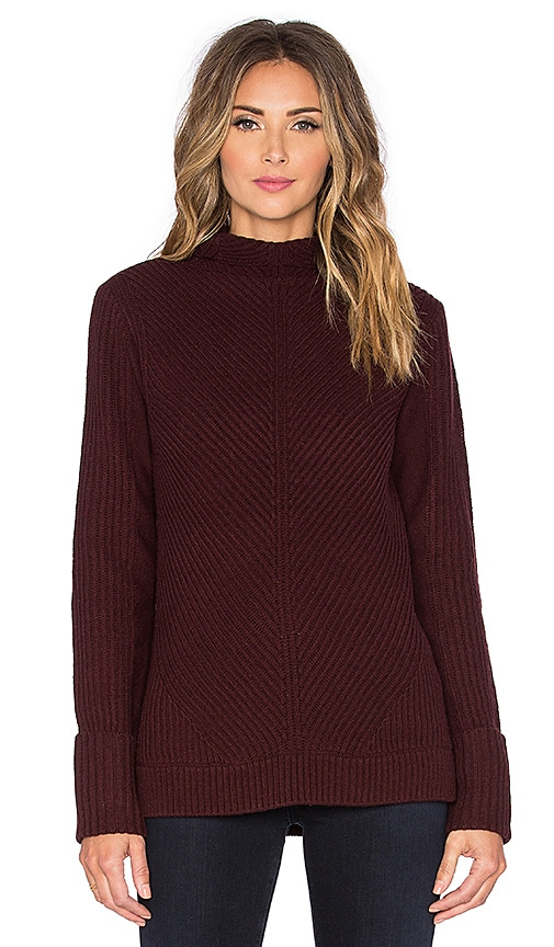 Vince Directional Rib Turtleneck Sweater in Wysteria