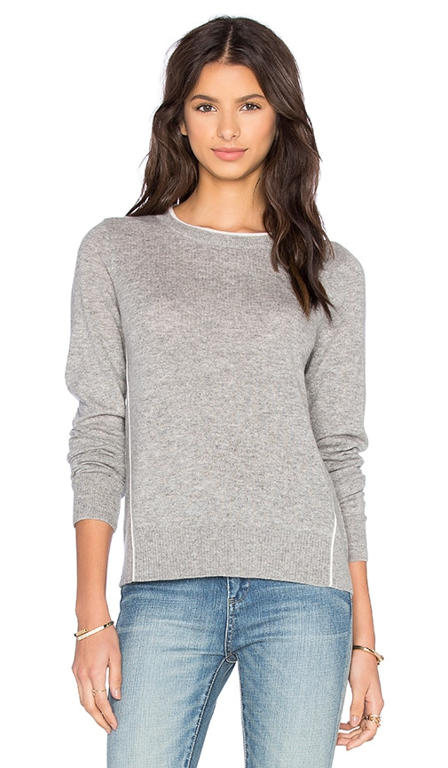 Vince Contrast Tipping Crew Sweater in Heather Steel & Off White