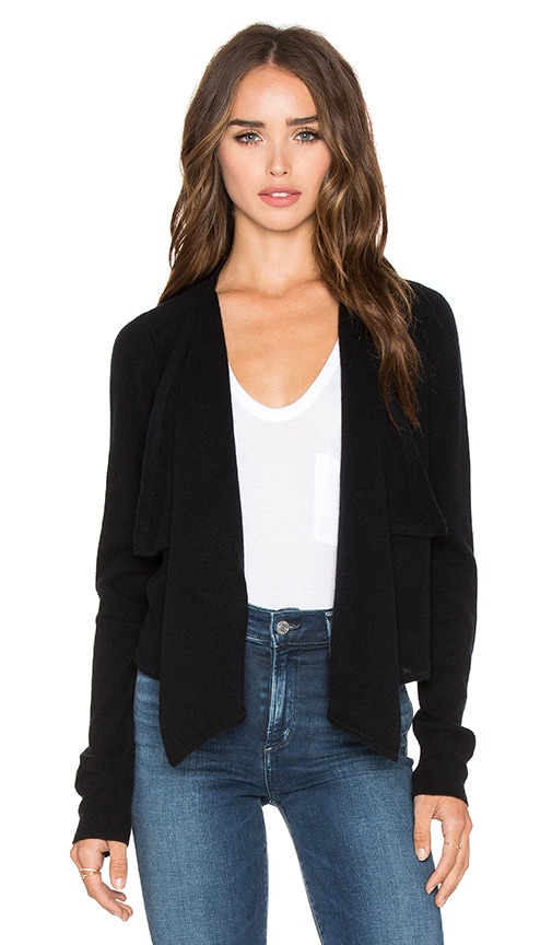 Rolled Edge Drape Front Cardigan