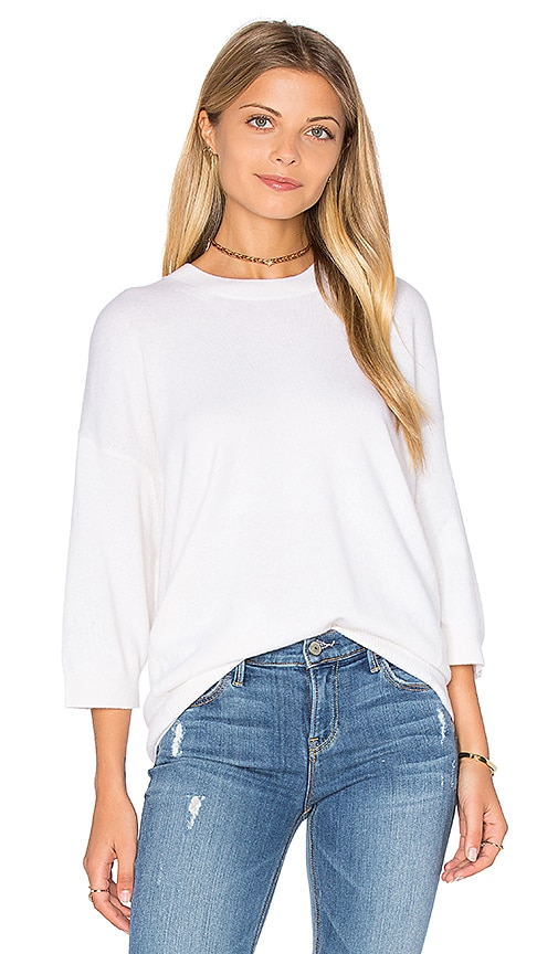 Vince3/4 Sleeve Cashmere Pullover in White