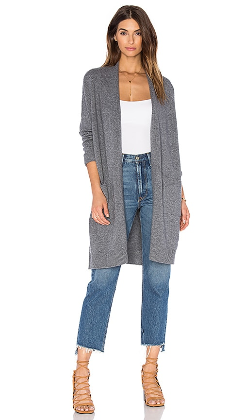 Vince Side Slit Cardigan in Gray