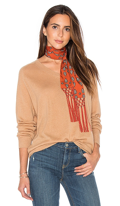 Vince Relaxed V Sweater in Tan