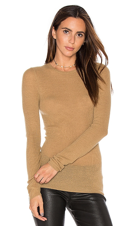Vince Ribbed Sweater in Tan