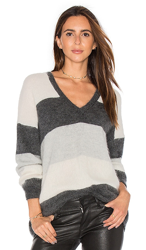 Vince Stripe Sweater in Charcoal